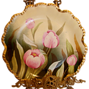"""French Limoges 12 ¼"""" Charger Plate Hand Painted Pink Tulips Signed c 1900"""