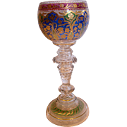 "Bohemian Czech Heckert Art Glass Wine Goblet 7 3/8"" Crystal Base w Blue/Green/Cranberry Cup"