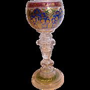 "Bohemian Czech Heckert Art Glass Wine Goblet 7 3/8"" Crystal Base w Blue/Green ..."