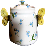 French Haviland Limoges Hand Painted Sugar Bowl Jar Butterfly Handles Flower Finial Blue Forge