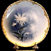 French Haviland Limoges Cobalt Feu de Four Plate Factory Artist Signed Doronique Yellow ...