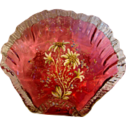 English Cranberry Art Glass Footed Bowl w Enameled Flowers & Insects c 1885