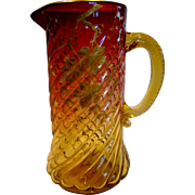 "English Amberina Art Glass Pitcher 9 3/8"" Pale Amber to Deep Cranberry Ruby Red Spiral Lobes"