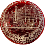 Bohemian Art Glass Ruby Red Box w White Enameled Street Scene on the Lid c 1900