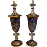 Bohemian Large Pair Crystal Lidded Art Glass Urns Blue to Clear Flowers & Leaves c 1900