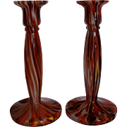 Bohemian Czech Pair Art Glass Candlestick Candle Holders Signed c 1930s