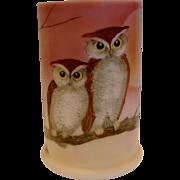 English Art Glass White Opaline Vase w Hand Painted Owls Artist Signed c 1900