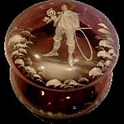 American Purple Amethyst Art Glass Box Mary Gregory Decoration Boy w Hoop c 1885