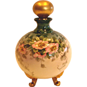 French Limoges Hand Painted Footed Perfume Cologne Bottle Wild Pink Roses Gold Stopper c 1894