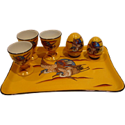 French Limoges Studio Hand Painted Signed Breakfast Set Tray 3 Eggcups Shakers Yellow w Flying
