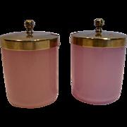 French Set 2 Art Glass Pink Opaline Condiment Jars w Brass Lids c 1890