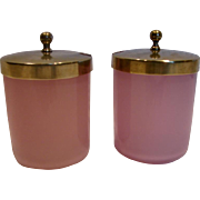 French Set 2 Art Glass Pink Opaline Condiment Jars w Brass Lids c 1890
