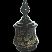 Bohemian Black Art Glass Box Hand Painted Bird c 1890