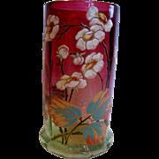 "French Legras Rubena (Rubina) Verde Art Glass 8"" Vase Paneled Hand Enameled Green-to-Red ..."