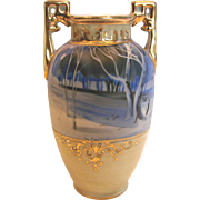 """Japanese Nippon 6"""" Small Vase Hand Painted Winter Rural Scene in Shades of Blue c ..."""