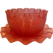 American Sandwich Boston Opalescent Threaded Art Glass Bowl w Saucer Cranberry Threads Over ..