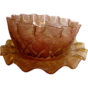 English Diamond Quilted Threaded Art Glass Bowl & Saucer Amberina Threads Over Cranberry c 188