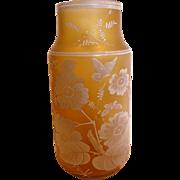 """Bohemian 10"""" Art Glass Vase Honey Amber Color Hand Enameled Butterflies Flowers Leaves c 189"""