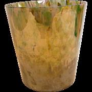 """Bohemian Czech Kralik 6"""" Art Glass Bucket Vase Iridescent Mottled Spatter Colors Signed c .."""