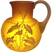 Bohemian Satin Art Glass Jug Pitcher Unusual Yellow Green Brown Citrine Color Hand Enameled Wh