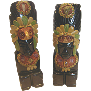 Mexican Pair Hand Carved Obsidian Stone Figural Indian Native American Bookends w Applied Ston