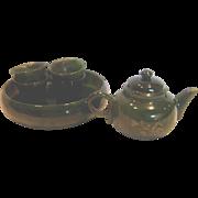 Chinese Miniature Tea Set Nephrite Alaskan Jade Stone Tiny Intaglio Carved Decorated Teapot w