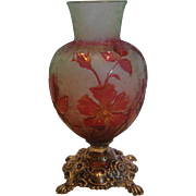 French Baccarat Small Crystal Cameo Roses Art Glass Vase Sterling Base Cranberry Pink Over ...