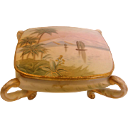 Japanese Nippon Hand Painted Footed Box Sail Boats Palm Trees c 1910