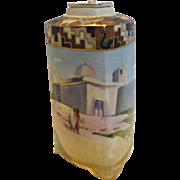 Japanese Nippon Tea Caddy Jar Three Sides Hand Painted Egyptian Scene c 1910
