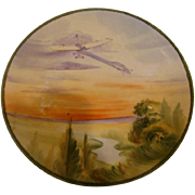 """Japanese Nippon 8"""" Wall Hanging Plate Plaque w Hand Painted Glider Flying in the Sky – Not"""