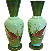 "French Pair Green Opaline 8.75"" Art Glass Vases Hand Painted Game Bird Scenes c ..."