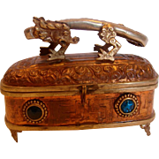 SALE PENDING Chinese Hammered Footed Copper Box w Metal Dragon on Top Blue Glass Stones c 1900