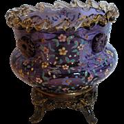 Bohemian Moser Purple Amethyst Art Glass Vase Amber Rigaree Applied Flower Head Prunts Enamele