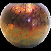 Bohemian Czech Oil Spot (Oilspot) Art Glass Vase Iridescent Green Blue Purple Cased Black c ..
