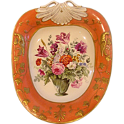 English New Hall Heart Shaped Dish Birds Leaves in Molded Relief Orange Ground Floral Center .