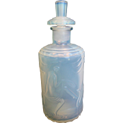 French Maurius Sabino Opalescent Art Glass Scent Perfume Bottle Nude Women Signed c 1925 - 193