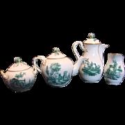 Denmark Royal Copenhagen Demitasse Teapot, Chocolate Pot, Sugar, Creamer Delicate Bud Finials