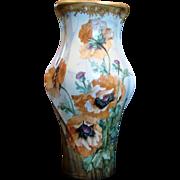 "Bohemian Czech Turn-Teplitz Marked Amphora 14 ½"" Hand Painted Vase Huge Poppies Gold Detail"