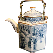 Chinese Persian Six Sided Teapot Blue White Flying Birds Bronze Metal Handle c 1900