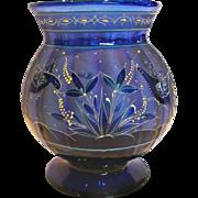 "English 8"" Cobalt Blue Paneled Art Glass Vase Intricate Design Flying Birds Eating Seeds Gor"