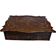 Chinese Canton Hand Carved Wood Calligraphy Letter Writing Box Eastern Dragons Peacock Bird c