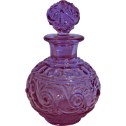 French Baccarat Crystal Art Glass Scent Perfume Bottle Pink-to-Lavender-to-Purple Signed c ...