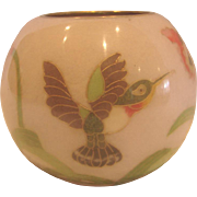 Japanese Art Glass Vase Plique-A-Jour Hummingbird Birds Flowers c 1900