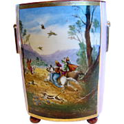 "French Old Paris Large 12"" Footed Cache Pot Vase Hand Painted Scene Hunting Scene Horses ..."