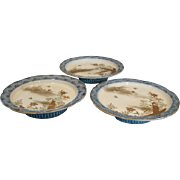 Japanese Imari Set of 3 Pedestal Comport Plates Blue & White Hand Painted Flying Insects Garde