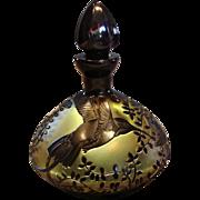 Bohemian Czech Cameo Amber Art Glass Perfume Bottle 3 Carved Hummingbirds Birds Signed c After