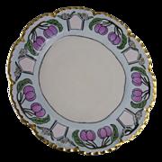 """Haviland Limoges Plum Motif Arts & Crafts Plate (Signed """"I. Lang""""/c.1893-1930)"""