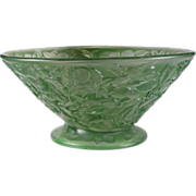 SALE Consolidated Glass Large Martele Green Wash Floral Motif Bowl (c.1920's)