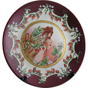 "Delinieres & Co. (D&C) Limoges Art Nouveau ""Mucha"" Strawberry Motif Plate (c.1894-1900)"
