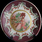 """SALE Delinieres & Co. (D&C) Limoges Art Nouveau """"Mucha"""" Strawberry Motif Plate (c.1894-190"""